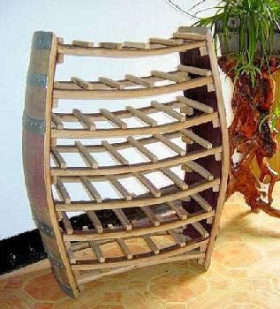 Whole Barrel Wine Display Rack