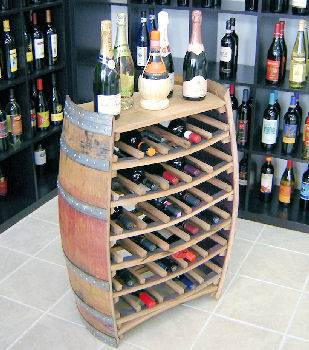Oak Barrel Wine Rack