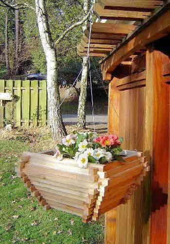 Cedar Wood Hanging Basket