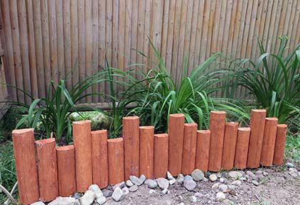 Border edging for Log garden edging