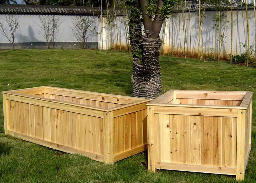 Wood planter container - Wooden containers for flowers ...